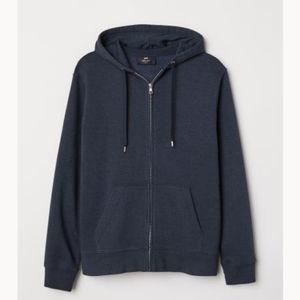 H&M Regular Fit Hooded Jacket Dark Blue Melange XL